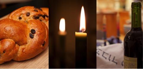I simboli dello Shabbàt, il pane intrecciato, le candele, il vino per il Kiddùsh