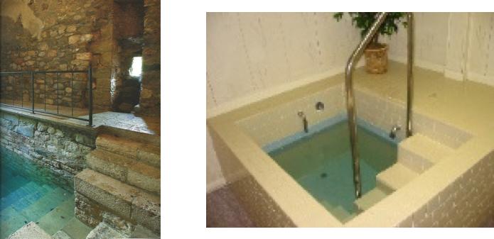 Due esempi di mikvè (bagno rituale), antico e moderno