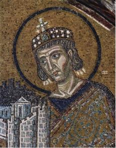 L'imperatore Costantino. Bassorilievo nella basilica di Santa Sofia a Istanbul.