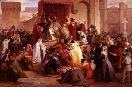 Hayez Francesco, Papa Urbano II sulla piazza di Clermont predica la prima crociata